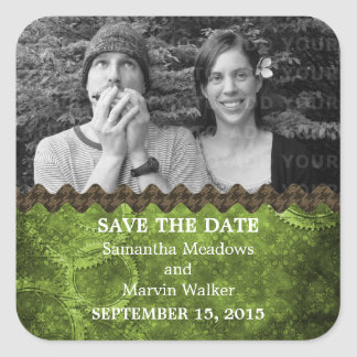 Green Chic Steampunk Photo Save the Date Stickers