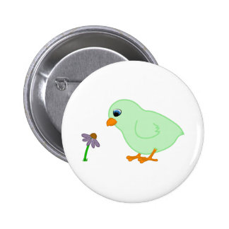 Green Chick with Purple Coneflower 6 Cm Round Badge