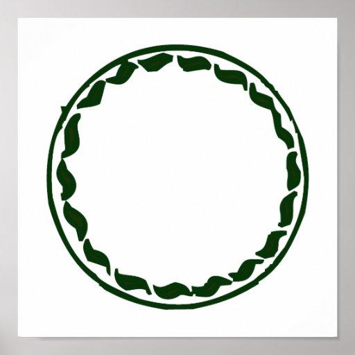 Green chili circle design poster