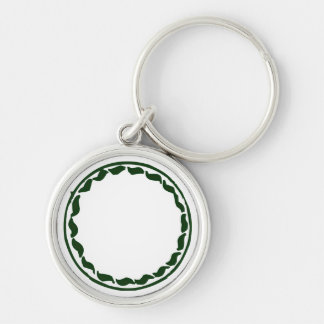 Green chili circle design Silver-Colored round key ring