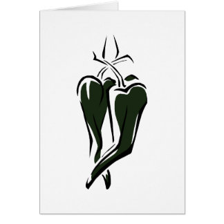 Green chili pepper two dancing abstract note card