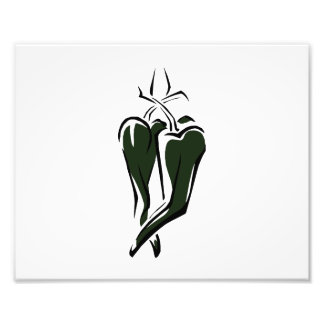 Green chili pepper two dancing abstract photo