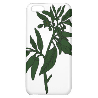 Green chili peppers on dark green plant case for iPhone 5C