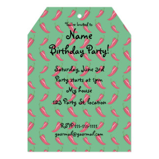 """Green chili peppers pattern 5"""" x 7"""" invitation card"""