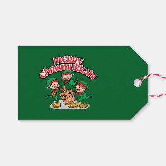 Green Chrismukkah Gift Tags with Elves & Dreidels