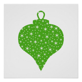Green Christmas Bauble Design Print
