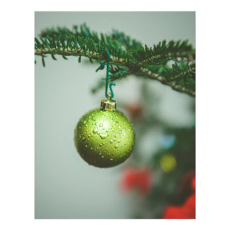 Green Christmas bauble Flyer Design