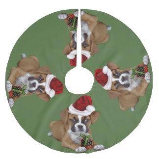 Green Christmas Boxer Puppy Tree Skirt
