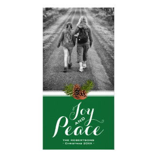 Green Christmas Card Pinecone Frame- Joy and Peace Personalised Photo Card