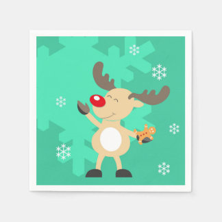 Green Christmas Deer Custom Monogram Paper Napkin