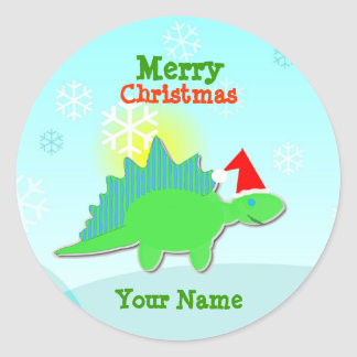 Green Christmas Dinosaur Name Stickers