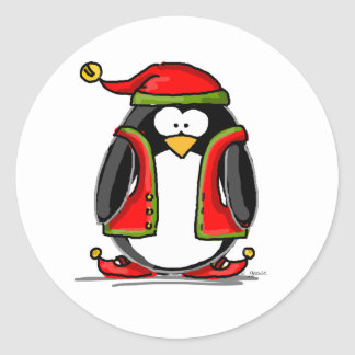 Green Christmas Elf Penguin Classic Round Sticker