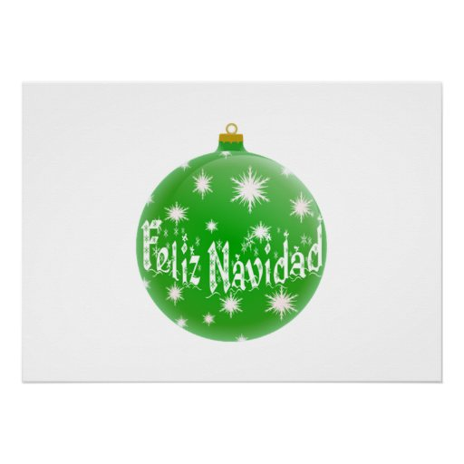 Green Christmas Feliz Navidad Ornament Poster