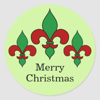 Green Christmas Fleur de Lis Stickers