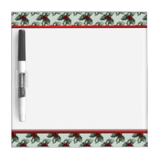 Green Christmas Floral Dry Erase Board with Pen