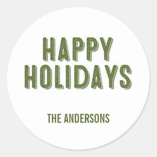 Green Christmas Happy Holidays Sticker