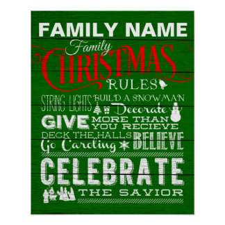 Green Christmas House Rules Poster