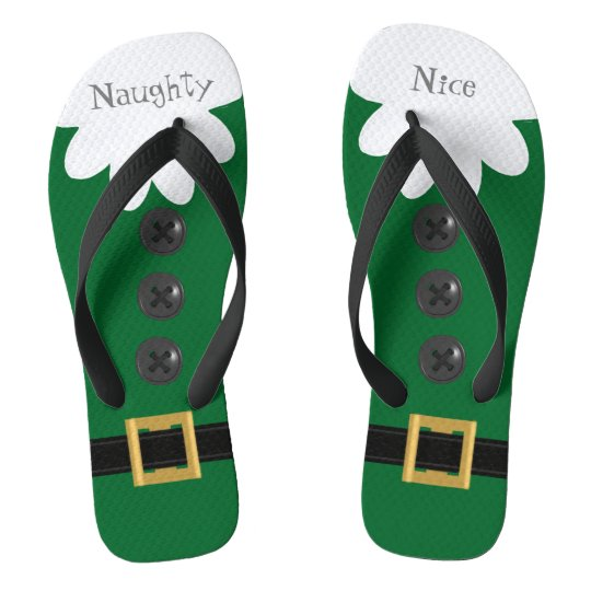 Green Christmas in July Custom Festive Flip Flops