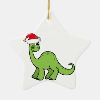Green Christmas Kids Dinosaur Santa Christmas Ornament