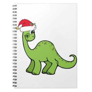 Green Christmas Kids Dinosaur Santa Notebooks
