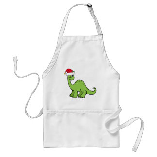 Green Christmas Kids Dinosaur Santa Standard Apron