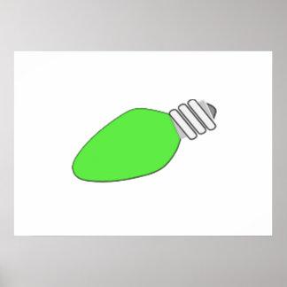 Green Christmas Light Bulb Print