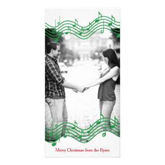 Green Christmas Music Photo Holiday Personalised Photo Card