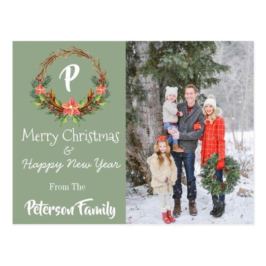 Green Christmas & New Year Postcard