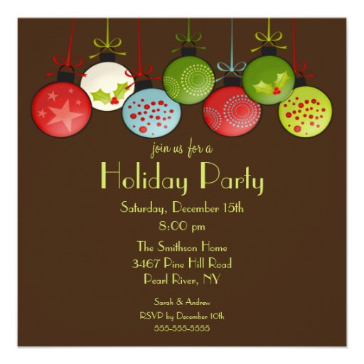 Green Christmas Ornament Holiday Party Invitation