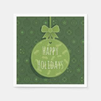 Green Christmas Ornament Paper Napkin