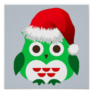 Green Christmas Owl Trend Poster