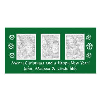 Green Christmas photocard template | three photos Customised Photo Card