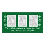 Green Christmas photocard template | three photos Personalized Photo Card
