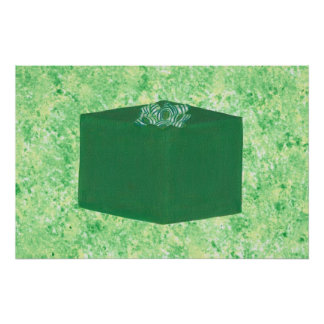Green Christmas Present with Bow Poster