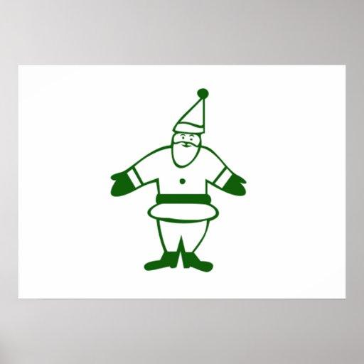 Green Christmas Santa Claus Posters