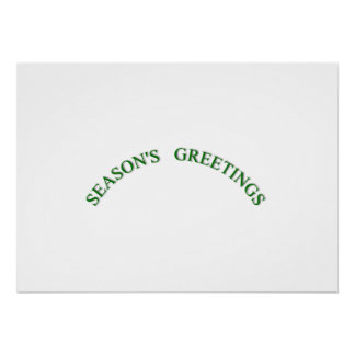 Green Christmas Seasons Greetings Poster