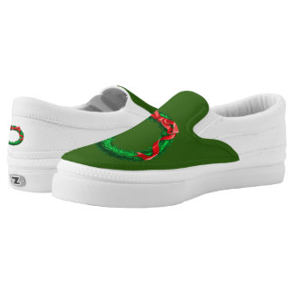 Green Christmas Slip-On Shoes