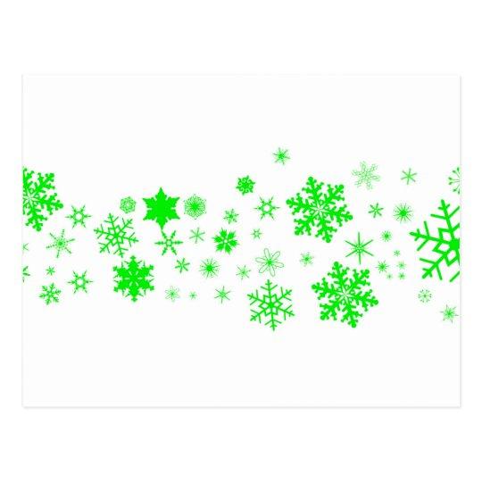 Green Christmas Snowflake Banner Postcard