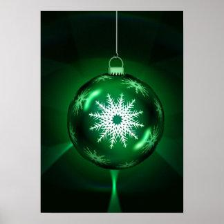 Green Christmas Snowflake  Poster