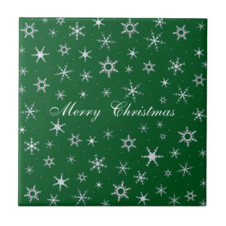 Green Christmas Snowflakes Tile