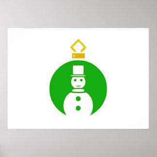Green Christmas Snowman Ornament Poster