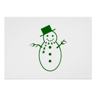 Green Christmas Snowman Print