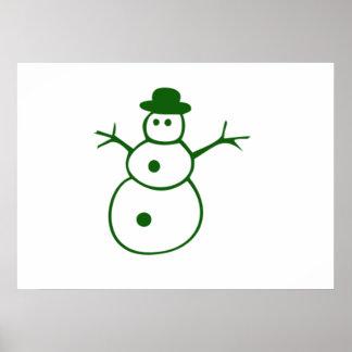 Green Christmas Snowman Poster
