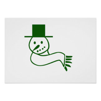 Green Christmas Snowman Posters