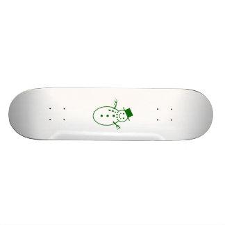 Green Christmas Snowman Skate Deck