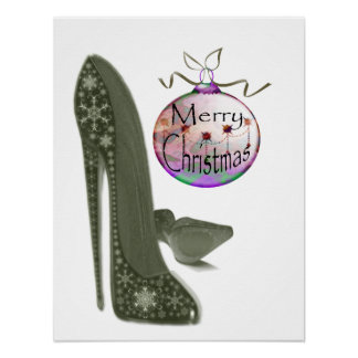 Green Christmas Stiletto Shoe and Bauble Poster