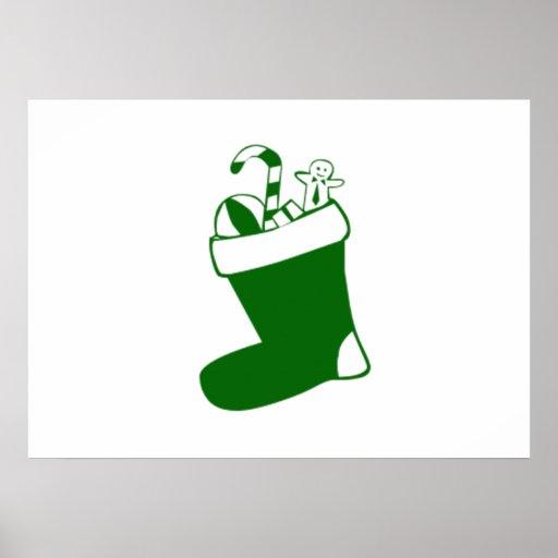 Green Christmas Stocking Print