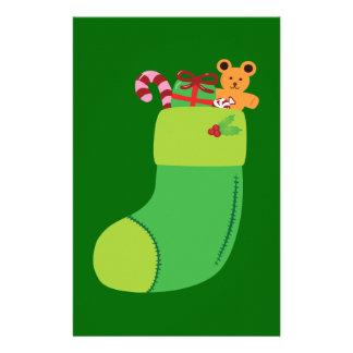 Green Christmas Stocking Customized Stationery