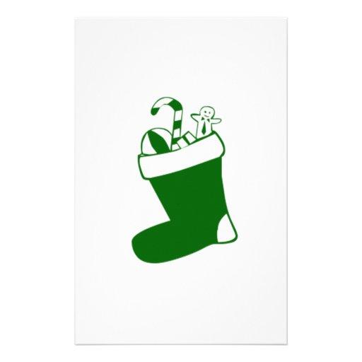 Green Christmas Stocking Custom Stationery
