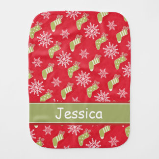 Green Christmas Stockings and Snowflakes Burp Cloth